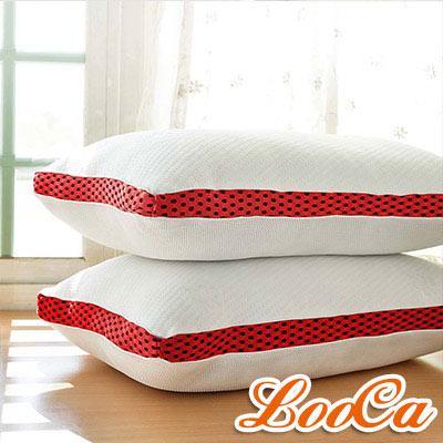 LooCa 時尚版透氣超釋壓獨立筒枕 2 入 紅