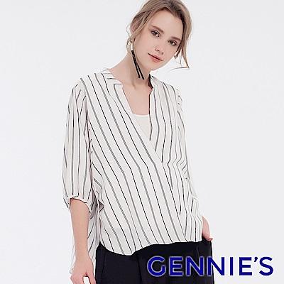 Gennies專櫃-V字立領七分袖哺乳衣(T3F10)白底黑條