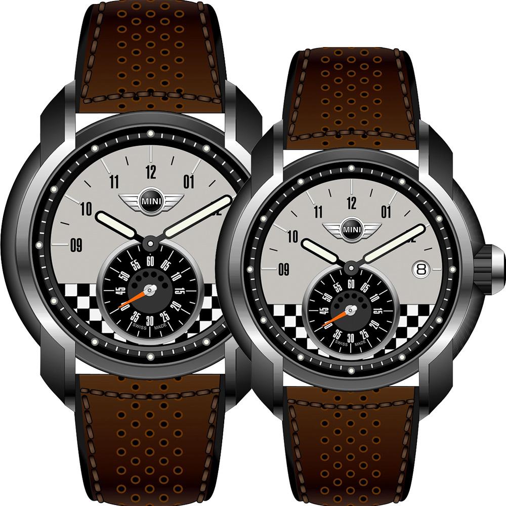 MINI Swiss Watches   休閒運動造型對錶-咖非+灰/45+42mm