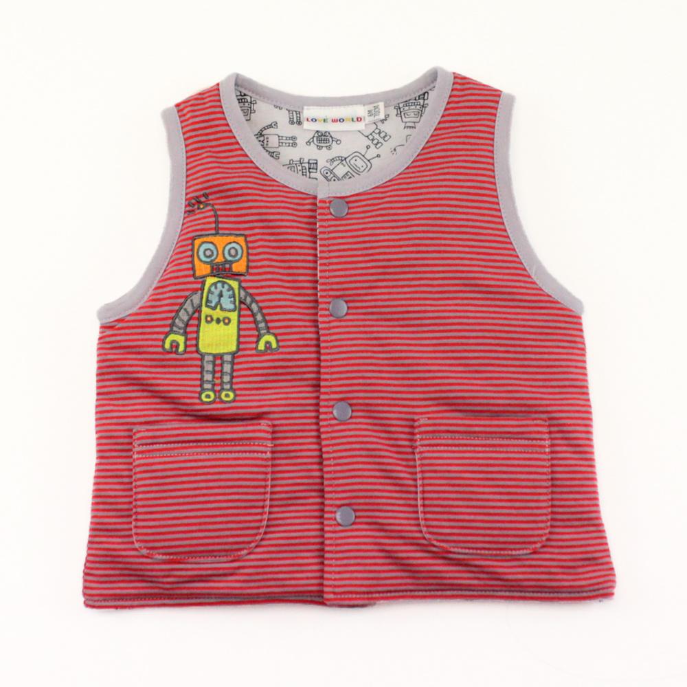 愛的世界 機器人鋪棉兩面穿背心-紅/4~8歲