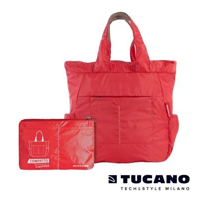 TUCANO COMPATTO 超輕量防水尼龍折疊收納購物包-紅