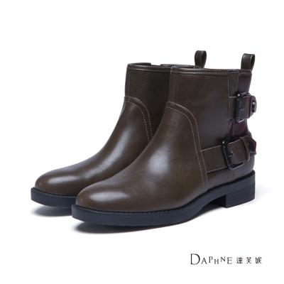 達芙妮DAPHNE 短靴-雙排扣帶工程靴-橄欖綠