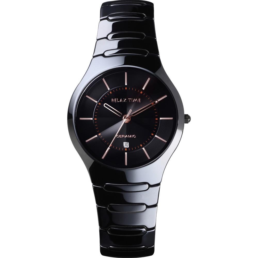 Relax Time 經典藍寶石陶瓷腕錶-黑x玫塊金時標/37mm