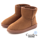 Camille's 韓國空運-正韓製-麂絨素面短筒雪靴-駝色