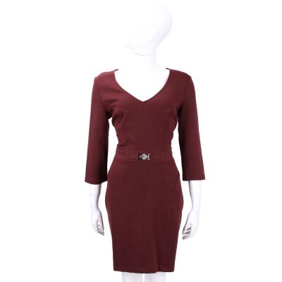 VERSACE 暗紅色V領七分袖洋裝