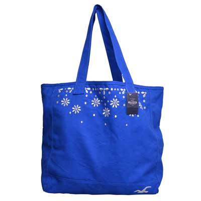 HOLLISTER Co. HCO .花朵刺繡手提肩背包-藍