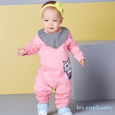 les enphants 玩樂FUN桃粉小怪獸連身裝(附圍兜) 桃粉