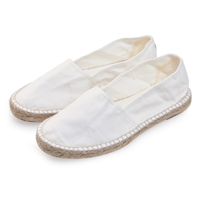 (女)Natural World 西班牙休閒鞋 麻邊素色款*白色