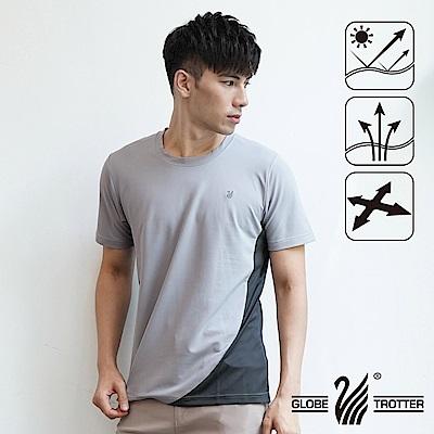 【遊遍天下】台灣製中性款配色圓領吸濕排汗機能衫S0708淺灰