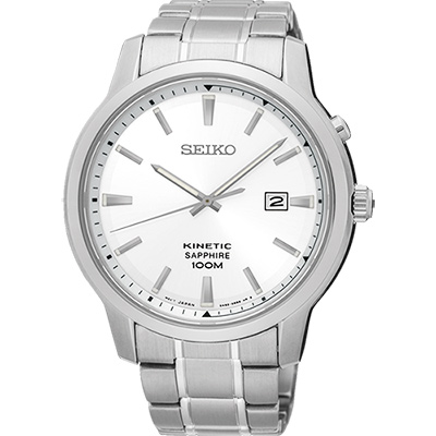 SEIKO KINETIC 紳士型男人動電能腕錶(SKA739P1)-銀/44mm