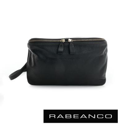 RABEANCO-迷時尚荔枝紋牛皮立體三角包-黑