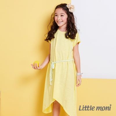 Little moni 涼夏長版不對襯綁帶洋裝  黃色