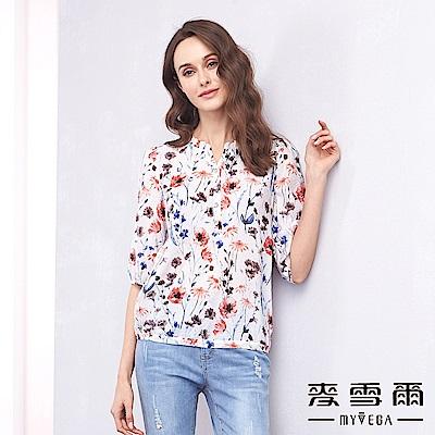 【麥雪爾】水鑽鈕扣水彩花朵優雅上衣