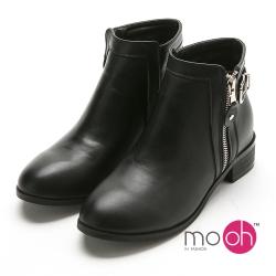 mo.oh 圓頭拉鏈皮帶扣工程短靴機車靴-黑色