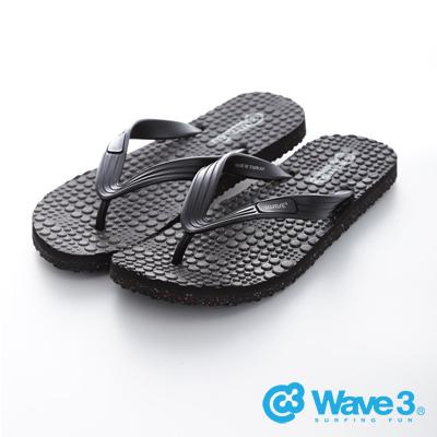 WAVE3【男】台灣製 瑜珈墊人字夾腳拖鞋~黑