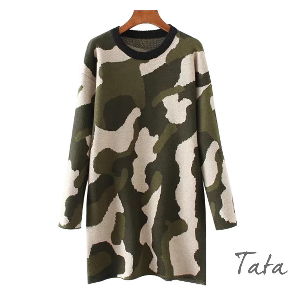 圓領迷彩針織洋裝 共二色 TATA