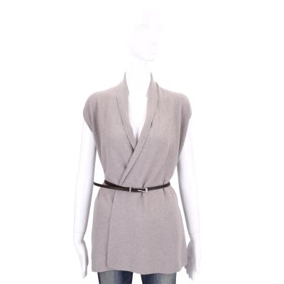 FABIANA FILIPPI 可可色開襟羊毛外套(75%MERINO WOOL)