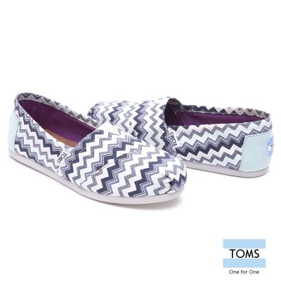 TOMS 雪佛龍帆布懶人鞋-女款(藍)