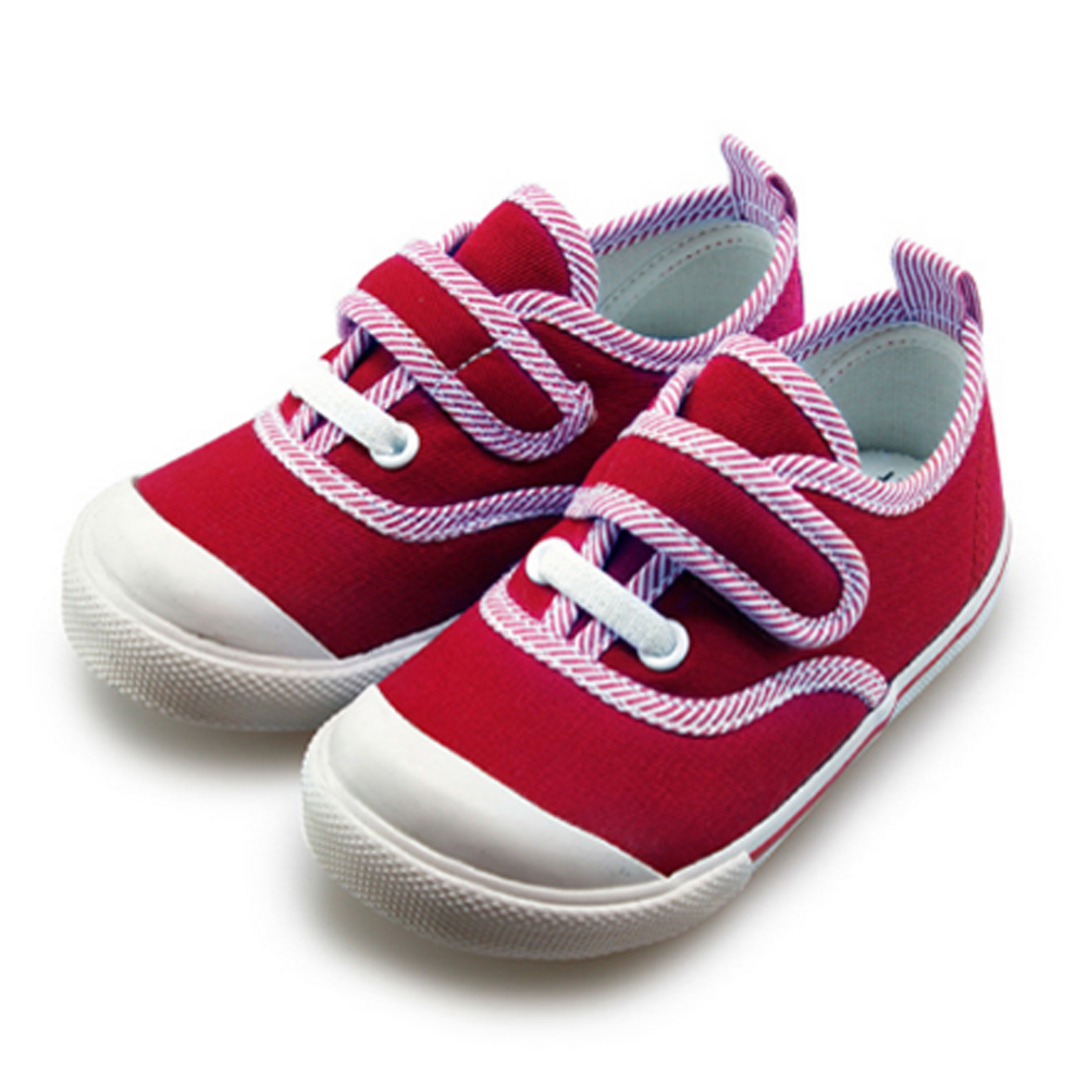 FUFA  MIT 斜邊布黏扣童鞋   (BABY16)-紅色