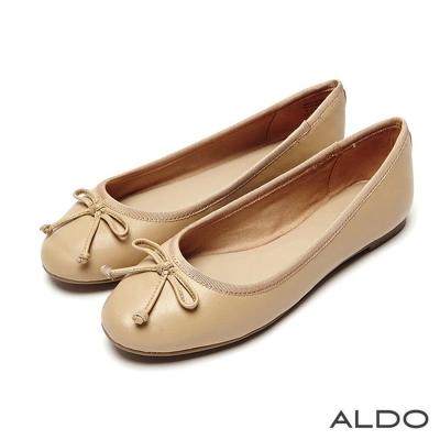 ALDO 氣質精靈圓弧蝴蝶結低跟娃娃鞋~氣質裸色