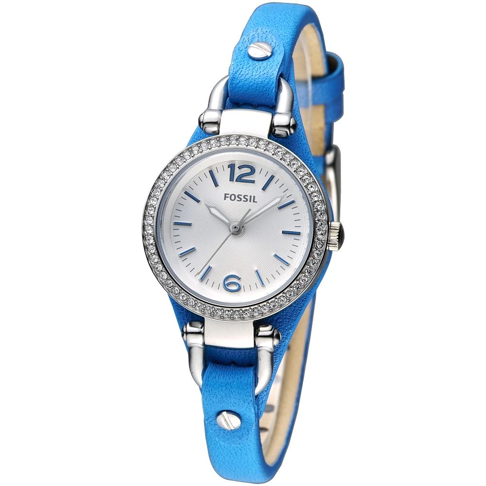 FOSSIL 桔梗女孩率性潮流女錶(ES3474)-銀白/藍/26mm