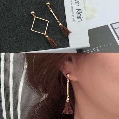 梨花HaN-無耳洞韓國小流蘇中鏤空框線耳環夾式