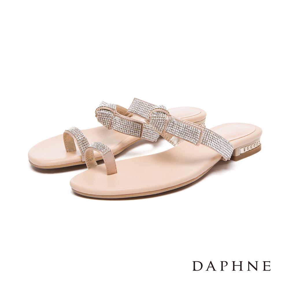 達芙妮DAPHNE 涼鞋-水鑽套趾蝴蝶結平底涼拖鞋-杏
