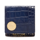 A.D.M.J. KITTY&MIMMY鱷魚紋牛革短夾(BLUE)