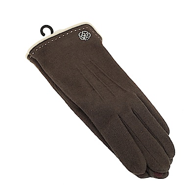 CLATHAS 發熱保暖山茶花LOGO觸控手套(咖啡色)