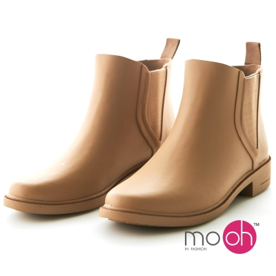 mo.oh 愛雨天-素面切爾西鬆緊帶雨鞋-杏裸色
