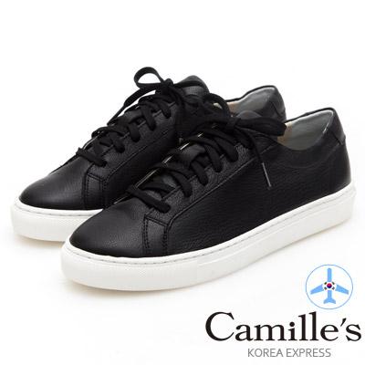 Camille's 韓國空運-正韓製-牛皮經典綁帶休閒鞋-黑色