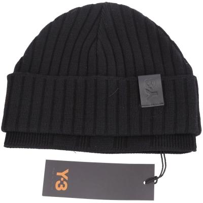 Y-3 Ribbed 黑色皮革LOGO針織反摺毛帽(100%WOOL)