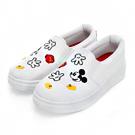 DISNEY 淘氣米奇 造型電繡銀蔥懶人鞋-白(女)