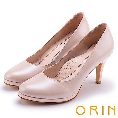 ORIN 展現時尚魅力 質感素面牛皮高跟鞋-粉紅
