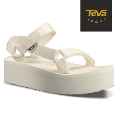 TEVA 美國-女 Flatorm Universal 緹花織帶厚底涼鞋 (白)