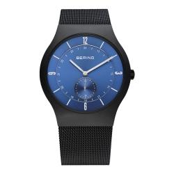 BERING丹麥精品手錶 單眼顯示米蘭帶系列 黑x北歐藍40mm