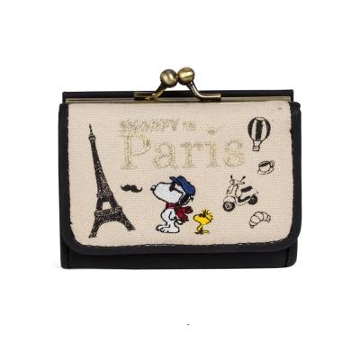 Marimo  SNOOPY世界系列帆布三折式迷你短夾(巴黎)