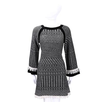 PHILOSOPHY 黑x米色織紋拼接流蘇羊毛長袖洋裝