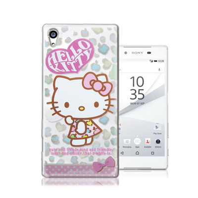 三麗鷗正版 凱蒂貓 Sony Xperia Z5 5.2吋 透明軟式保護殼(豹紋...