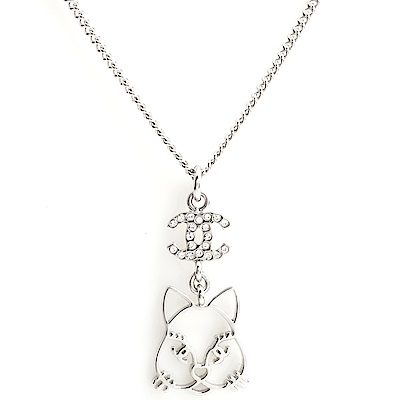 CHANEL 香奈兒限定款水鑽雙C Logo 貓咪項鍊