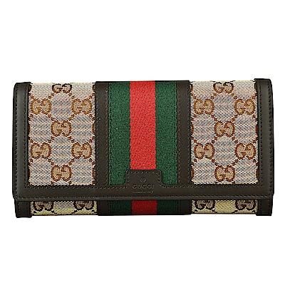 GUCCI 經典綠紅織帶緹花布滾邊牛皮釦式長夾(咖啡)