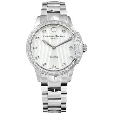 CHRISTIAN BERNARD 伯納錶 白剛玉真鑽珍珠母貝不鏽鋼手錶-銀色/34mm