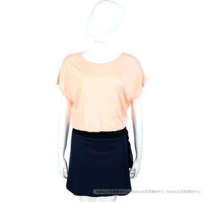 MOSCHINO 粉橘/黑藍色拼接設計短袖洋裝