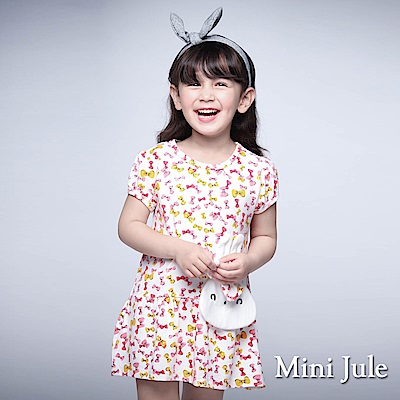 Mini Jule 童裝-洋裝 立體兔子彩色蝴蝶結短袖洋裝(白)