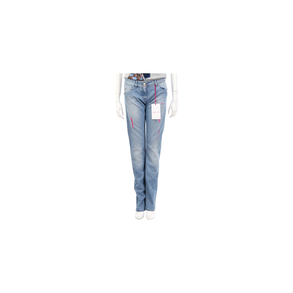 BLUGIRL 藍色仿舊刷破設計牛仔褲