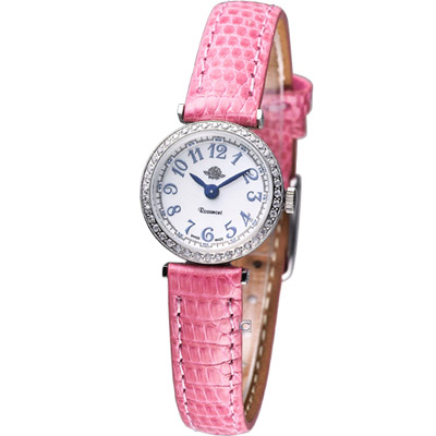 Rosemont 茶香玫瑰系列 超薄晶鑽時尚腕錶-粉錶帶/20mm