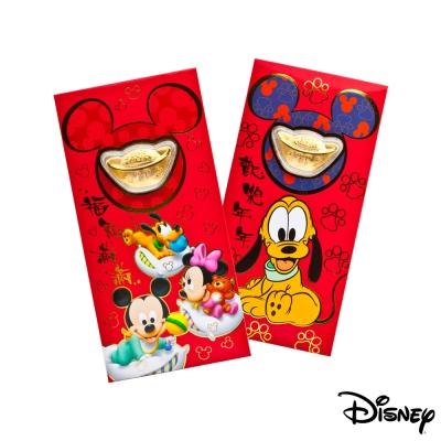 Disney迪士尼系列金飾-黃金元寶紅包袋-歡樂夢境+高飛來富款