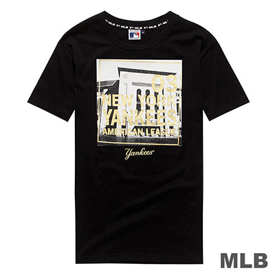 MLB-紐約洋基隊燙金印花短T-黑 (男)