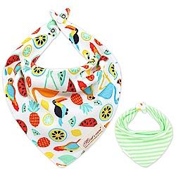 Baby unicorn 彩色小鳥綠條紋純棉雙面三角造型圍兜口水巾