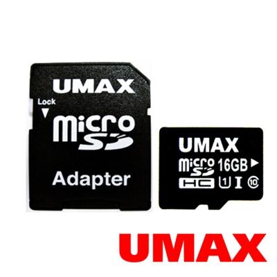 UMAX MicroSDHC UHS-I 16GB Class10 記憶卡(含轉接卡)